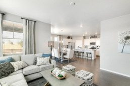 A large open concept great room, looking into the dining room as well as the kitchen.