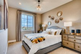 A modern bedroom featuring a large window, contemporary accents and a large bed with throw pillows.