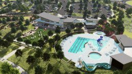 An aerial view of the community pool in Harmony.