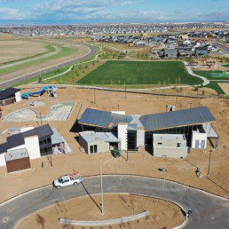An aerial view of the the construction in the community of Harmony.