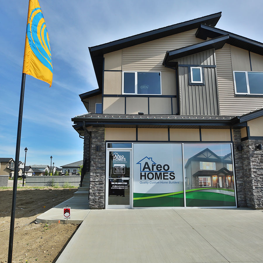 Image of the duplex showhome by Areo Homes located in West Haven Park in Leduc