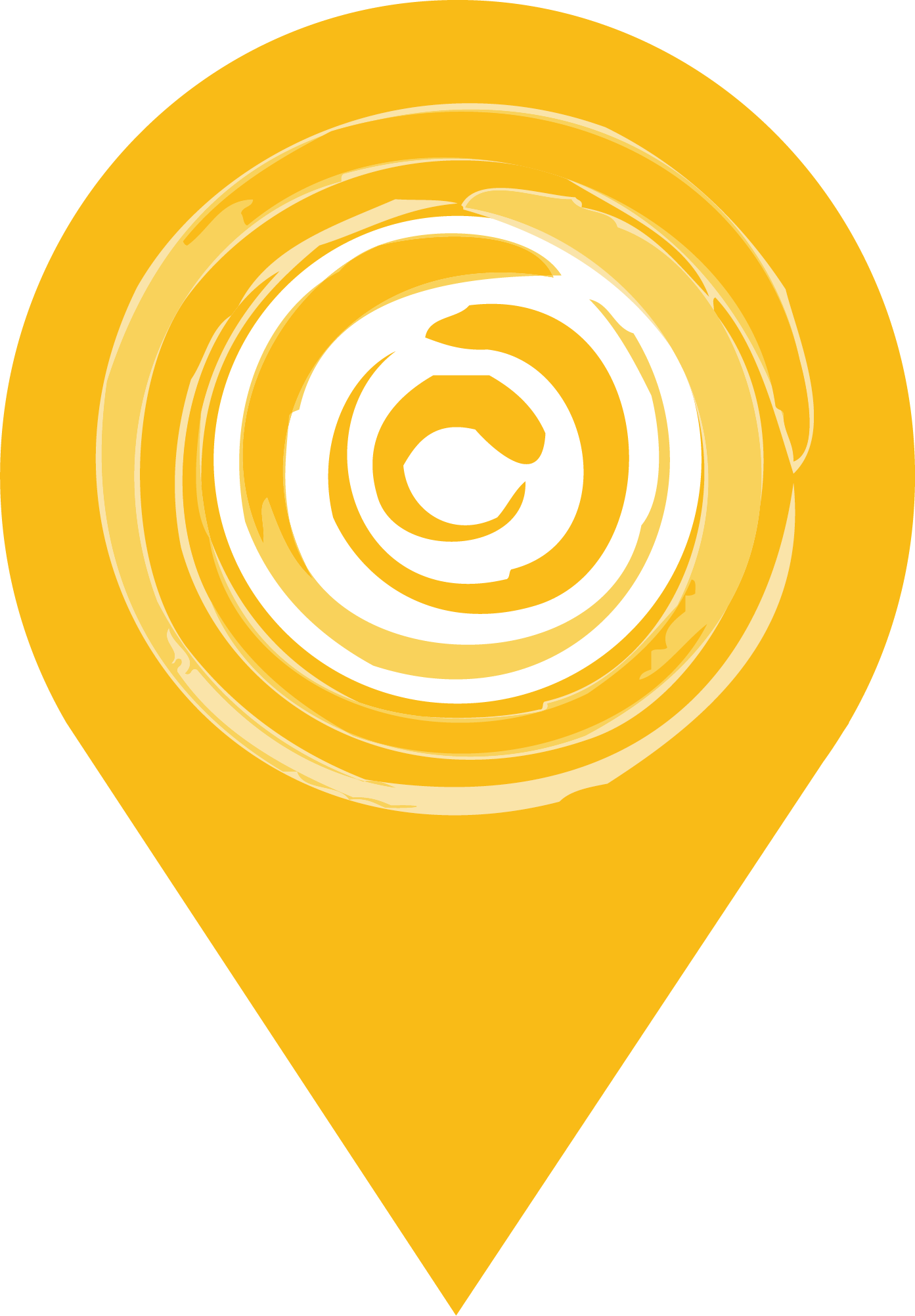 Location marker with West Haven Park Favicon, Swirly Sun Circle Logo